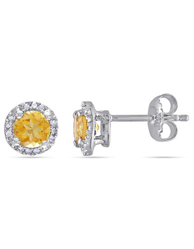 Concerto Sterling Silver and 0.07 TCW Diamond and Citrine Stud Earrings-CITRINE-One Size