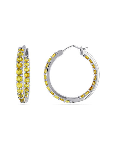 Concerto Sterling Silver and Citrine Hoop Earrings/1-CITRINE-One Size