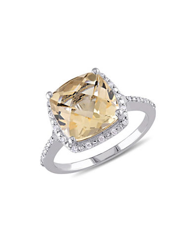 Concerto Sterling Silver and 0.1 TCW Diamond and Citrine Ring-CITRINE-9