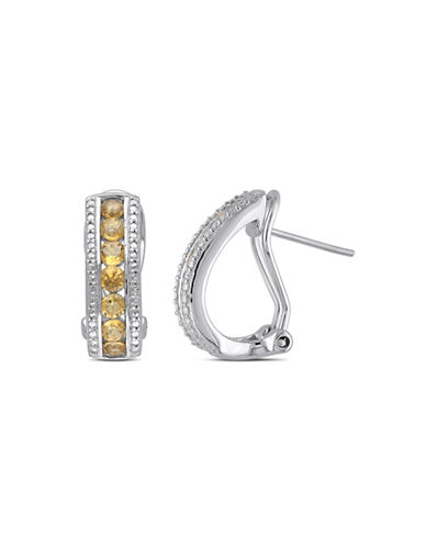 Concerto Sterling Silver and Citrine Half-Hoop Earrings-CITRINE-One Size