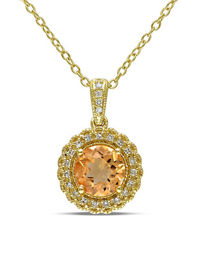 Concerto Sterling Silver and 0.1 TCW Diamond and Citrine Necklace-CITRINE-One Size