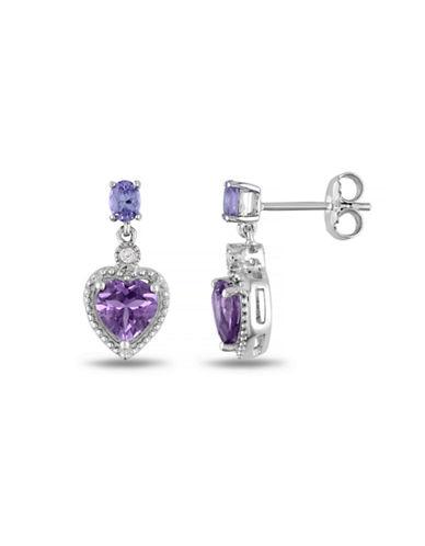 Concerto Multi-Gemstone Sterling Silver Heart Earrings-AMETHYST-One Size