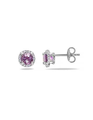 Concerto Amethyst Diamond-Accented Sterling Silver Stud Earrings-AMETHYST-One Size