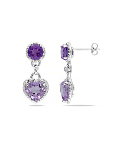 Concerto Amethysts and Diamond Sterling Silver Heart Earrings-AMETHYST-One Size