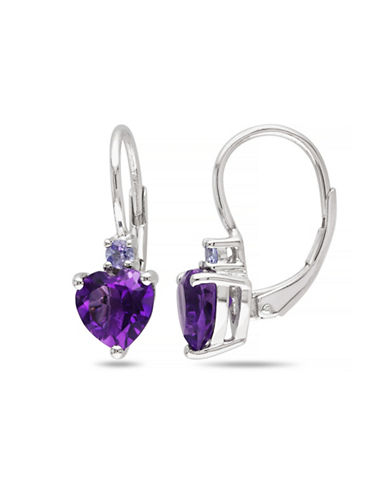 Concerto Amethyst and Tanzanite Sterling Silver Heart Earrings-AMETHYST-One Size