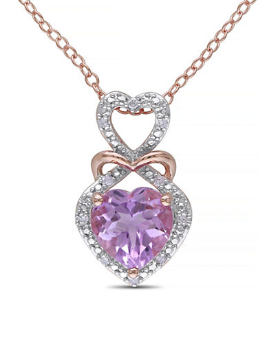 Concerto Rose de France Amethyst Diamond-Accented Silver Heart Necklace-AMETHYST-One Size