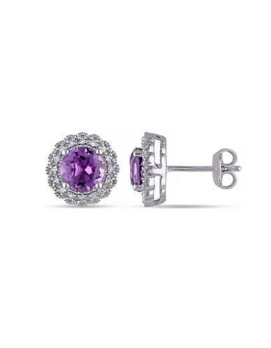 Concerto Amethyst and Diamond Halo Sterling Silver Stud Earrings-AMETHYST-One Size