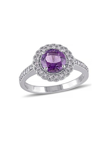 Concerto 0.12TCW Pave Diamond Round Amethyst Ring-AMETHYST-9