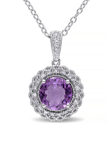 Concerto Amethyst Sterling Silver Halo Necklace-AMETHYST-One Size