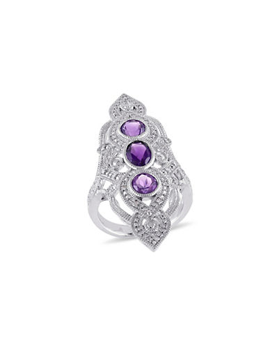 Concerto 0.1TCW Diamond and Amethyst Statement Ring-AMETHYST-6
