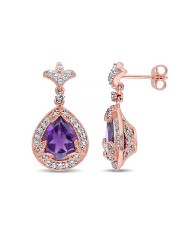Concerto Amethyst White Topaz and Diamond Pink Sterling Silver Drop Earrings-AMETHYST-One Size