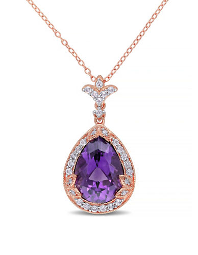 Concerto Amethyst White Topaz and Diamond Pink Sterling Silver Pendant Necklace-AMETHYST-One Size