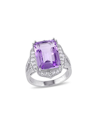 Concerto 0.1TCW Pave Diamond Octagon Amethyst and White Topaz Ring-AMETHYST-6