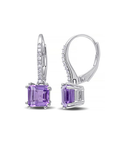 Concerto Amethyst and Diamond Sterling Silver Drop Earrings-AMETHYST-One Size