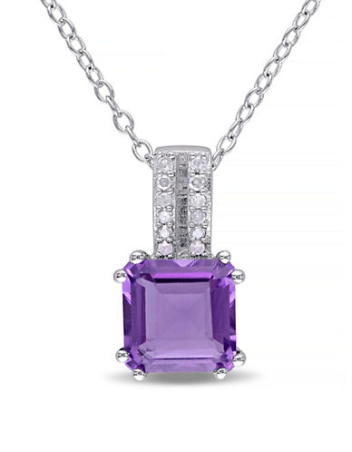 Concerto Amethyst and Diamond Sterling Silver Pendant Necklace-AMETHYST-One Size