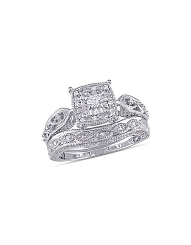 Concerto Cushion-Cut 0.20 TCW Diamond Filigree Sterling Silver Bridal Ring Set-WHITE-7