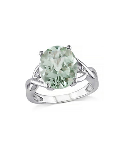 Concerto 4.33TCW Green Amethyst and Diamond Sterling Silver Cocktail Ring-AMETHYST-5