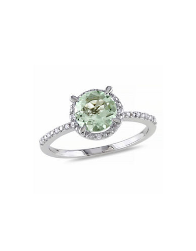 Concerto 1.16TCW Green Amethyst and Diamond Sterling Silver Halo Ring-AMETHYST-6