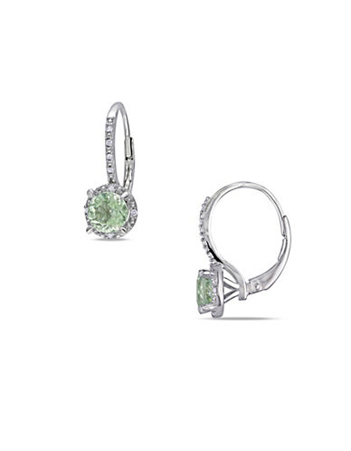 Concerto Green Amethyst and Diamond Accent Sterling Silver Drop Earrings-AMETHYST-One Size