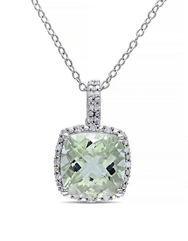 Concerto 4TCW Green Amethyst and Diamond Sterling Silver Halo Necklace-AMETHYST-One Size