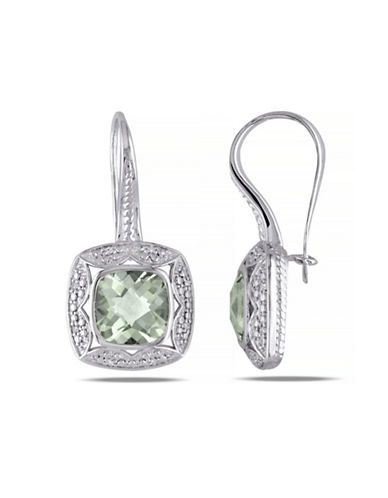 Concerto 5.33TCW Green Amethyst and Diamond Halo Drop Earrings-AMETHYST-One Size