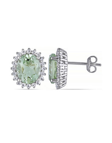 Concerto 4.875TCW Green Amethyst and White Topaz Sterling Silver Stud Earrings-AMETHYST-One Size