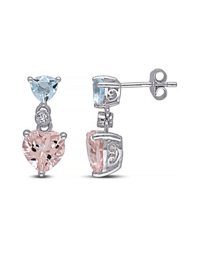 Concerto 4.5TCW Morganite and Blue Topaz with Diamond Sterling Silver Heart Earrings-PINK-One Size