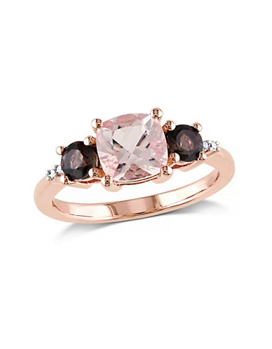 Concerto Morganite and Smokey Quartz 0.02TCW Diamond Rose Goldplated Three-Stone Ring-PINK-6