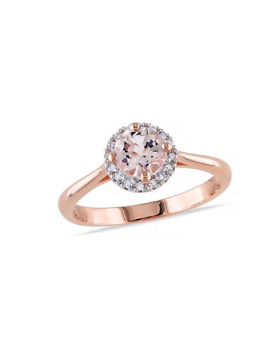 Concerto 0.8TCW Morganite and Diamond Halo Ring-PINK-7