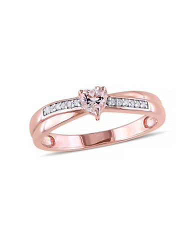 Concerto 0.25TCW Morganite Heart and Diamond Ring-PINK-5