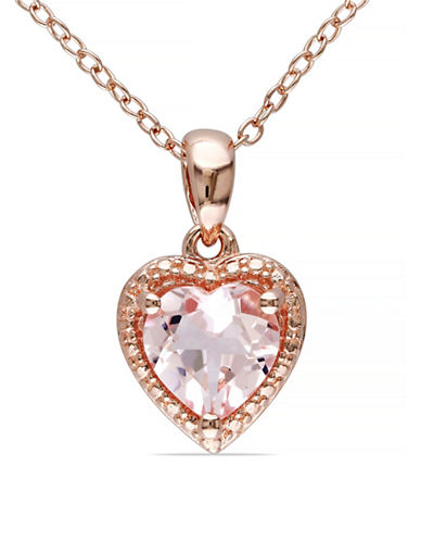 Concerto 1.1TCW Morganite Heart Pendant Necklace-PINK-One Size
