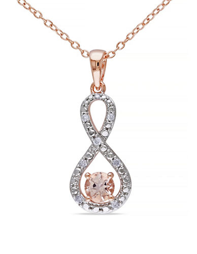 Concerto 0.5TCW Morganite and Diamond Two-Tone Infinity Necklace-PINK-One Size