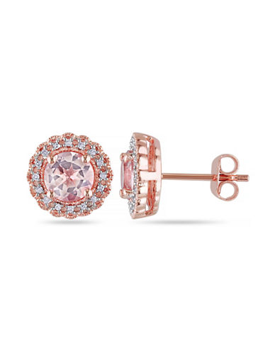 Concerto 1.75TCW Morganite and Diamond Halo Stud Earrings-PINK-One Size