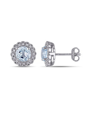 Concerto 2TCW Blue Topaz and Diamond Accent Halo Stud Earrings-TOPAZ-One Size
