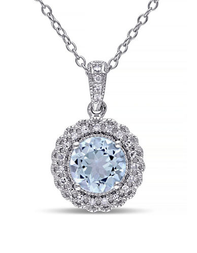 Concerto 1.6TCW Blue Topaz and Diamond Accent Halo Pendant Necklace-TOPAZ-One Size