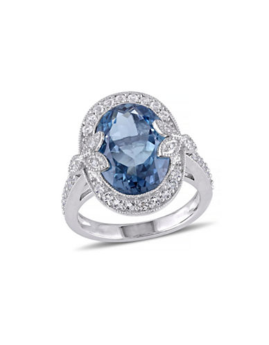 Concerto 7.88TCW Blue and White Topaz Cocktail Ring with Diamond Accent-TOPAZ-7