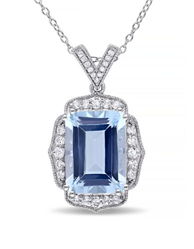 Concerto 10.33TCW Blue and White Topaz Pendant Necklace with Diamond Accent-TOPAZ-One Size