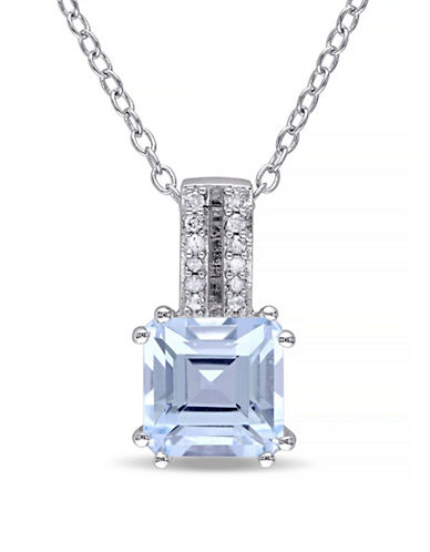 Concerto 2TCW Blue Topaz and Diamond Accent Diamond Accent Necklace-TOPAZ-One Size