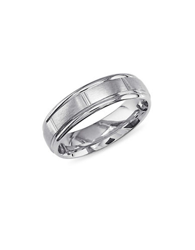 Concerto 14K White Gold Brushed Link Wedding Band-WHITE GOLD-12