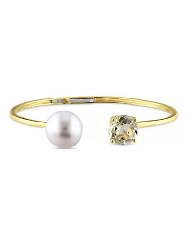 Concerto 12-12.5mm White Button Freshwater Pearl Lemon Quartz and Yellow Silver Bangle-QUARTZ-One Size