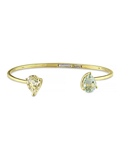 Concerto 3.30 CT TCW Lemon Quartz and Green Amethyst Yellow Silver Bangle-QUARTZ-One Size