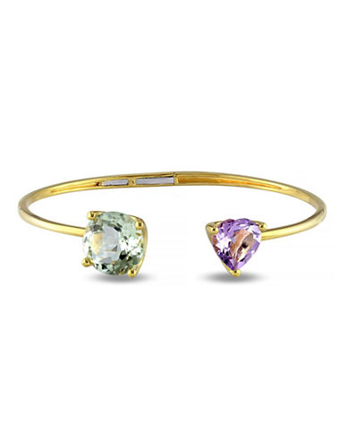 Concerto 8.85 CT TCW Green Amethyst and Rose de France Yellow Silver Heart Bangle-AMETHYST-One Size