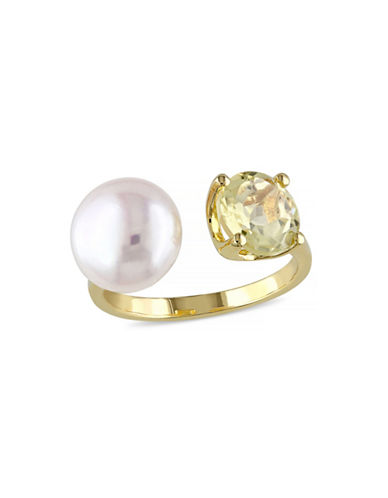 Concerto 10-10.5mm White Button Freshwater Pearl Lemon Quartz  and Yellow Silver Ring-QUARTZ-6
