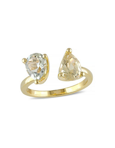 Concerto 2.16 CT TCW Lemon Quartz and Green Amethyst Yellow Silver Ring-QUARTZ-8