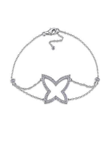 Concerto White Topaz Sterling Silver Butterfly Bracelet-TOPAZ-One Size