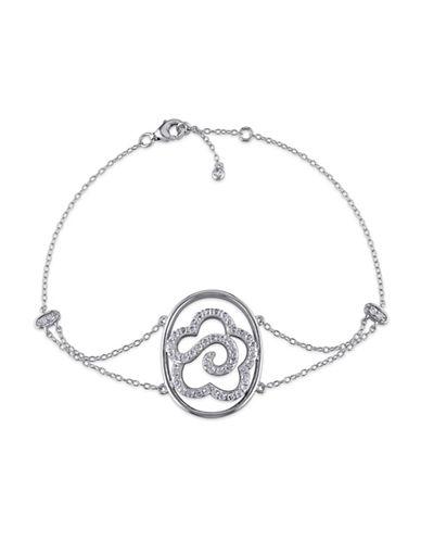 Concerto White Topaz Sterling Silver Flower Bracelet-TOPAZ-One Size