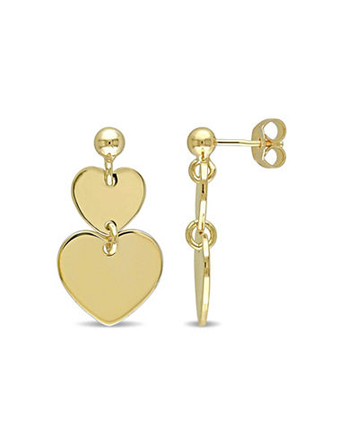 Concerto Goldtone Sterling Silver Heart Drop Earrings-STERLING SILVER-One Size