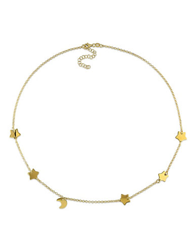 Concerto Goldtone Sterling Silver Star and Moon Necklace-STERLING SILVER-One Size