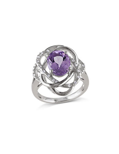 Concerto Amethyst and Diamond Sterling Silver Orbit Ring-AMETHYST-8