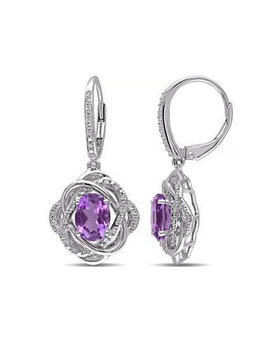Concerto Amethyst and Diamond Sterling Silver Orbit Drop Earrings-AMETHYST-One Size